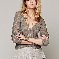 Free People  Pointelle Ruffle Hem Pullover at Free People Clothing Boutique