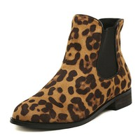 ZLYC Women's Leopard Print Elastic Sided Brown Flat Ankle Boots