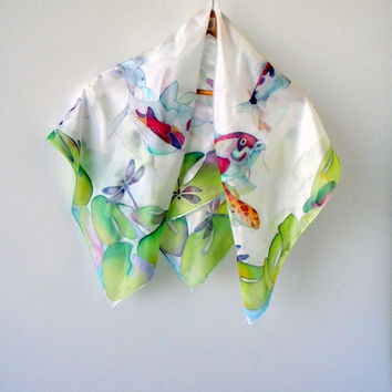 Hand painted silk shawl Japanese koi fish art Painted shawl Handpainted shawl Original painting mothers day gift for mom gift for sister