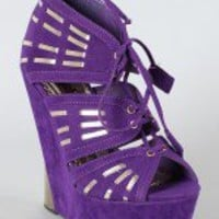 Lody-2 Lace Up Peep Toe Wedge Bootie