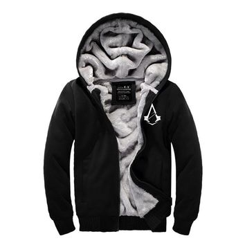 2017 New Autumn&Winter Assassin Creed Warm Hoodies Thick mens Coats plus size Zipper Assassins Creed thickening Hooded clothes