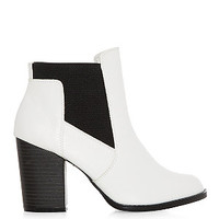 White Leather-Look Chelsea Cut Out Block Heel Boots