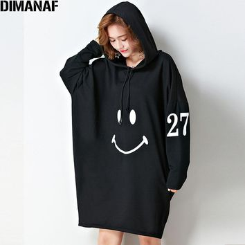 DIMANAF Plus Size Women Hoodies & Sweatshirts Cotton Fashion Autumn Oversize Loose Pattern Hoodies Orange 2017 Pullover With Hat