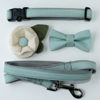 Mint Seafoam Wedding Dog Collar with Removable Bow Tie or flower And 5ft Leash