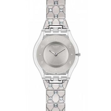 Swatch SFK368G Women's White Crystals Silver Dial Stainless Steel Watch