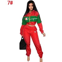 Champion Popular Women Long Sleeve Shirt Sweater Pants Sweatpants Set Two-Piece Sportswear 7#