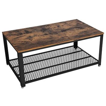 Metal Frame Coffee Table with Wooden Top and Mesh Bottom Shelf, Brown and Black