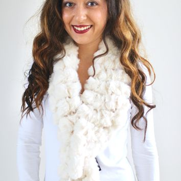 Caged Faux Fur Ball Scarf