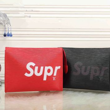"""Louis Vutitton×Supreme"" Unisex Fashion Wave Stripe Letter Logo Zip Couple Bag Clutch"