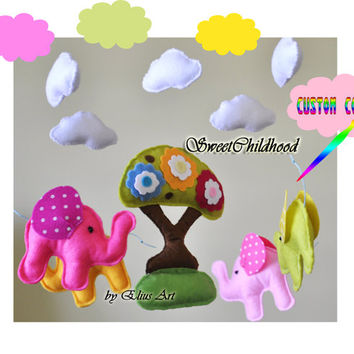 Elephant Crib Mobile, Animal Baby Mobile, Nursery animal mobile, Baby Mobile pink green blue white mobile