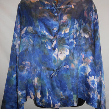 Vintage 80s 90s Gold Tag Victoria Secret 100 Percent Silk Blue Floral Night Shirt Gorgeous
