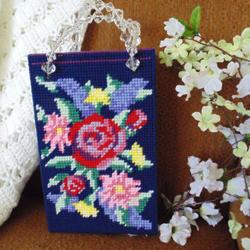Tote Bag Victorian Needlepoint Tapestry Flower Garden