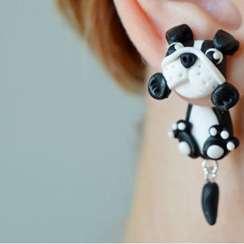 Black Bulldog plugs,dog Animal dangling gauges,unusual Piercing 16g,12g,8g,6g,4g,2g,0g,00g,1/2,9/16,5/8, 3/4,13/16 earrings, surgical  Steel