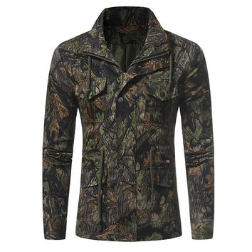 2017 Casual Men Camouflage Drawstring Waist Coat Jacket Autumn Lapel Neck Zip Buttons Long Sleeve Fitted Tracksuit Military