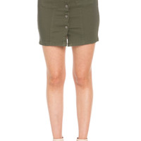 Button Up Olive Jean Mini Skirt