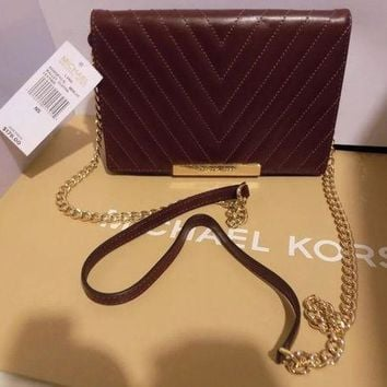 VLXZLP1 Authentic MICHAEL KORS MK LANA MERLOT Leather Large Crossbody CLUTCH NWT -