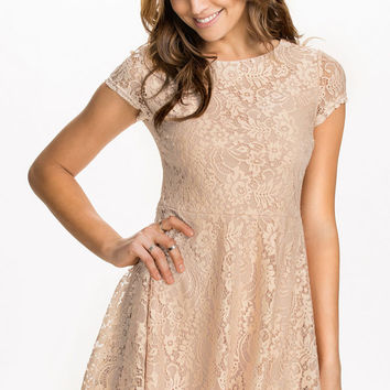 Beige Floral Lace Short Sleeve High-Waist Back Zip Skater Mini Dress