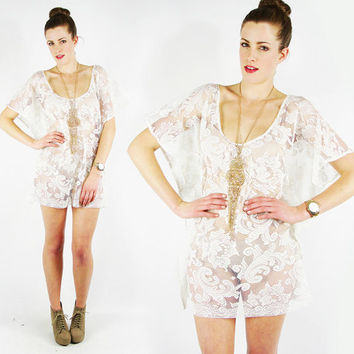 vtg 70s boho hippie cream SHEER floral LACE cut out draped CAFTAN wedding festival tunic mini dress S