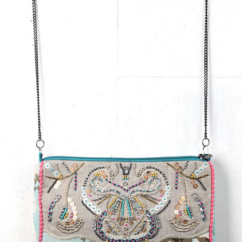 Sequin Beaded Floral Canvas Bag