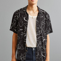 UO Linear Girls Rayon Short Sleeve Button-Down Shirt | Urban Outfitters