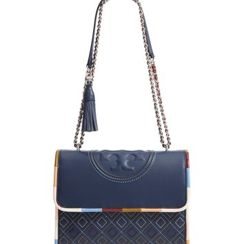 Tory Burch Fleming Piped Leather Convertible Shoulder Bag | Nordstrom