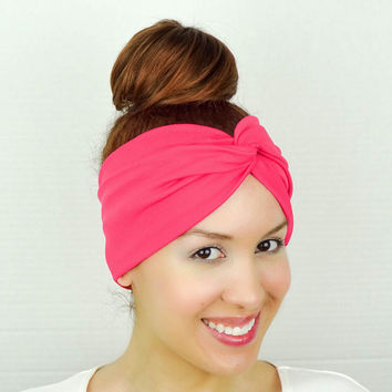 Twist Headband Women's Accessories Hot Pink Turban Headband Pink Turban Head Wrap Women Turban Pink Wide Headband Hot Pink Yoga Headband
