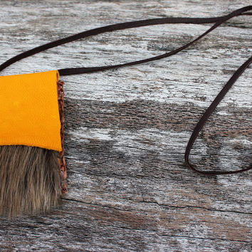 Yellow Medicine Bag with Beaver Fur, Goat Leather Necklace Pouch, Shaman Talisman, Small Simple Satchel