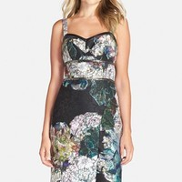 Women's Nicole Miller Embellished Floral Print Scuba Backed Lace Sheath Dress,