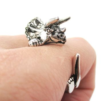 Triceratops Dinosaur Shaped Animal Wrap Around Hug Ring in Shiny Silver | US Size 4 to 8.5