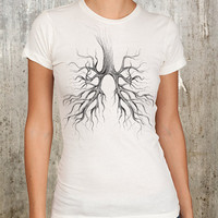 Tree Lungs Hand Drawn Illustration - Women's Ivory Graphic T - S, M, L, XL