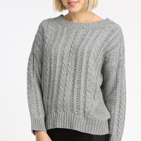Classic Cable Knit Boxy Sweater - Gray