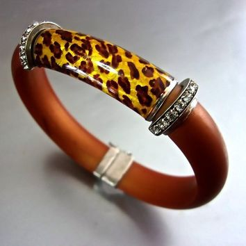 Enamel Animal Print Sterling Bracelet, Clear Rhinestones, Flexible Brown Band, Vintage