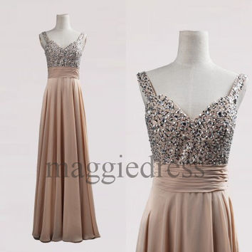 Custom Champagne Beaded Long Bridesmaid Dresses 2014 Prom Dresses Evening Gowns Formal Party Dress Formal Wear Cocktail Dresess Formal Wear