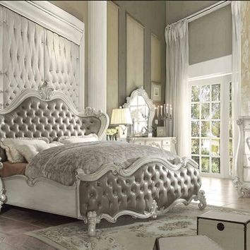 5 pc Versailles collection bone white finish wood and vintage gray faux leather headboard queen bedroom set