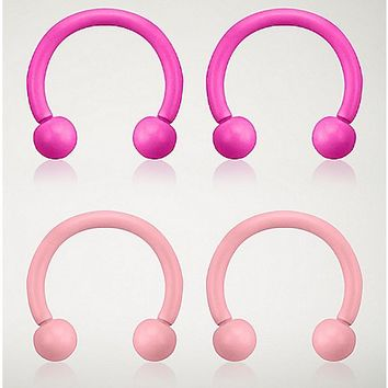 Pink Horseshoe Rings 4 Pack - 16 Gauge - Spencer's