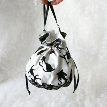 White with black cats pompadour purse evening handbag wristlet drawstring reticule
