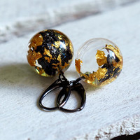 Resin Short Earrings Carborundum and Gold Leaf, Oxidized Sterling Silver, Natural Jewelry, Bold Jewelry, Terrarium Jewelry, Dangle & Drop