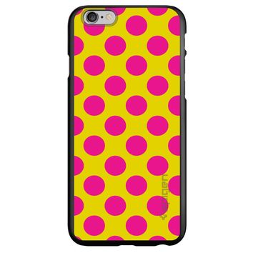 DistinctInk® Spigen ThinFit Case for Apple iPhone or Samsung Galaxy - Yellow Hot Pink Polka Dots