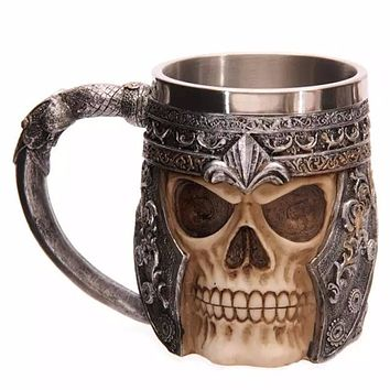 3D Coffee Milk Mug  Resin Skull Mug Tankard Striking Skull Warrior Tankard Viking Skull Beer Mug Gothic Helmet Drinkware