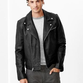 Gap Men Leather Biker Jacket