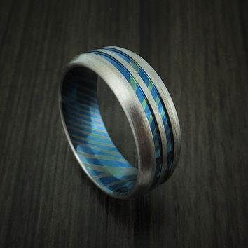 Men's Titanium Mokume Ring with Heat Treatment & Custom Made Band