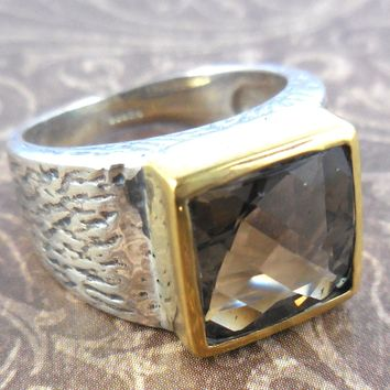 Smoky Quartz Sterling Silver Two-Tone Ring – Size 8.75