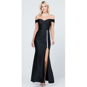 Off The Shoulder Long Mermaid Sheath Gown Black With Side Slit
