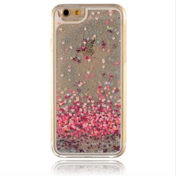 Unique shiny heart-shaped sand  Phone Case Cover for Apple iPhone 7 7 Plus 5S 5 SE 6 6S 6 Plus 6S Plus + Nice gift box! LJ160927-005