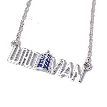 "Basket Hill Watches, Silver Tone Dr Who "" WHOVIAN "" and Tardis Necklace"