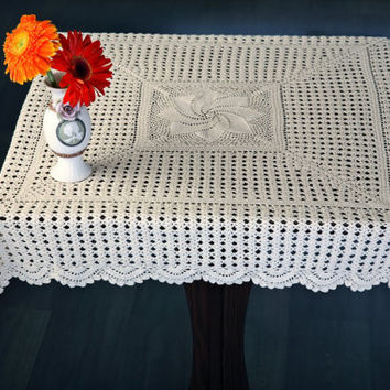 Oroshi Crochet TableCloth- HANDMADE CROCHET TABLECLOTH- Table Decor, Home Decor, Wedding Table Decor, Square Table, Bridal and Events