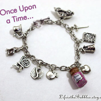 Once Upon a Time Bracelet 11 Charms including a Vial of True Love , Storybrooke, Inspired by ABC Television Show, by Life is the Bubbles