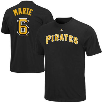 Majestic Starling Marte Pittsburgh Pirates Player Name & Number T-Shirt - Black