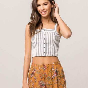 IVY & MAIN Stripe Button Front Womens Crop Tank
