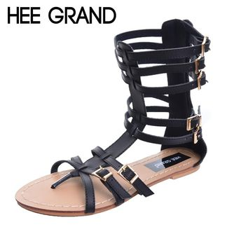 HEE GRAND Brand Fashion New Summer Gladiator Sandals Woman Flat With Shoes Buckle Frework Boots Plus Size 35-43 XWZ2027